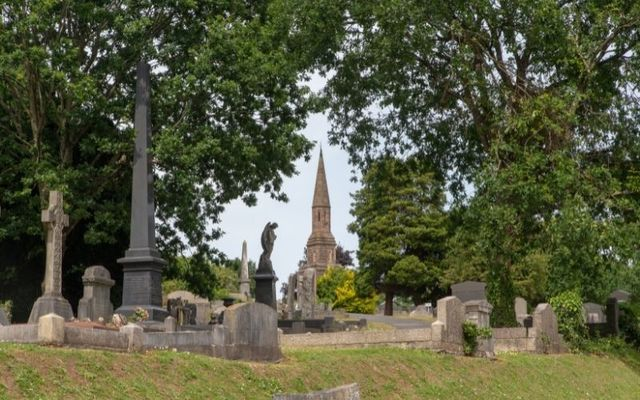 The remaining tower of the mortuary chapel at Belfast\'s City Cemetery.