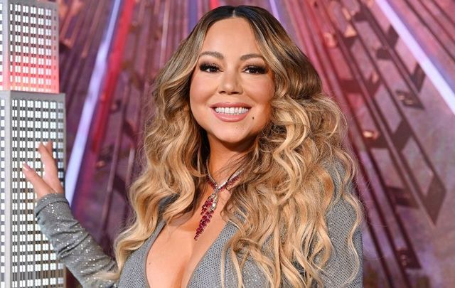"""December 17, 2019: Mariah Carey lights the Empire State Building in celebration of the 25th anniversary of \""""All I Want For Christmas Is You\"""" at the Empire State Building in New York City."""