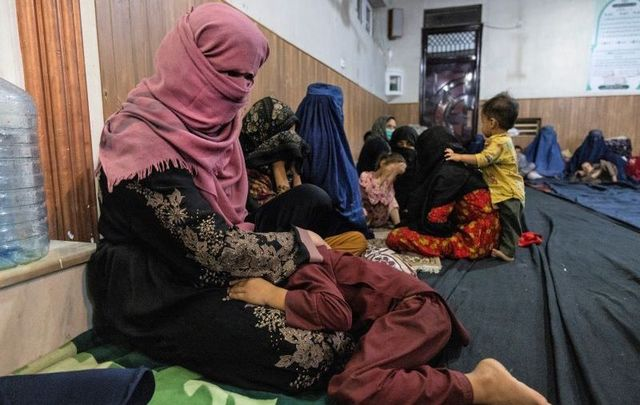 August 13, 2021: Displaced Afghan women and children from Kunduz are seen at a mosque that is sheltering them in Kabul, Afghanistan.