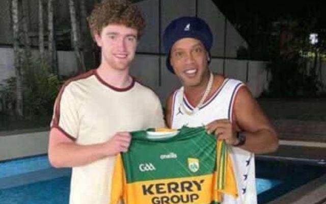 Kerry\'s Paul Walsh with Brazilian soccer legend Ronaldinho.