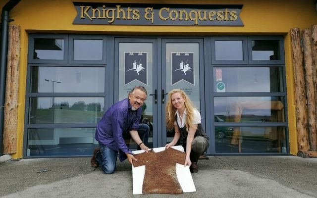 Granard Knights & Conquests General Manager Bartle D\'Arcy and Tourism and Education Officer Déirdre Orme with the recently-discovered chain mail.