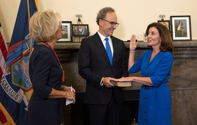 August 24, 2021: Kathy Hochul is sworn in as the 57th Governor of New York.