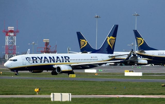 Ryanair planes pictured at Dublin Airport in March 2020.