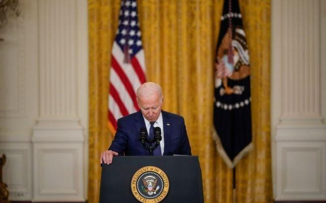 Joe Biden pauses to reflect during an emotional address on Thursday.