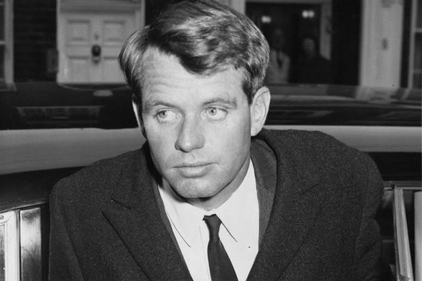January 24, 1964: Robert Kennedy, the Attorney General of the United States, arriving at the home of Princess Lee Radziwill, sister of Jackie Kennedy.