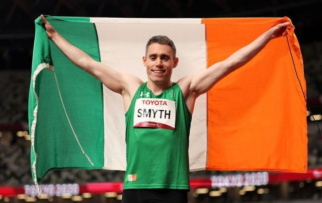 August 29, 2021: Jason Smyth of Team Ireland celebrates after winning Men\'s 100m - T13 Final on day 5 of the Tokyo 2020 Paralympic Games at Olympic Stadium in Tokyo, Japan.