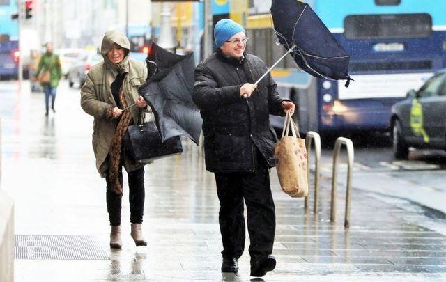 Rainy, stormy weather in Dublin.
