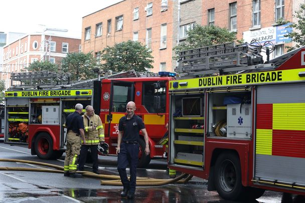 Member of Dublin\'s Fire Brigade on Aungier Street, in the city center.