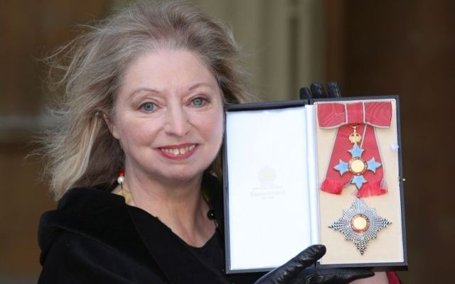 Dame Hilary Mantel accepts her Dame Commander of the British Empire Award in 2015.