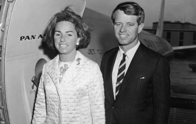 March 6, 1966: Democratic Senator Robert F. Kennedy of New York and his wife, Ethel, prepare to board an airplane for San Juan, Puerto Rico, where Kennedy received an honorary degree from the Inter-American University,