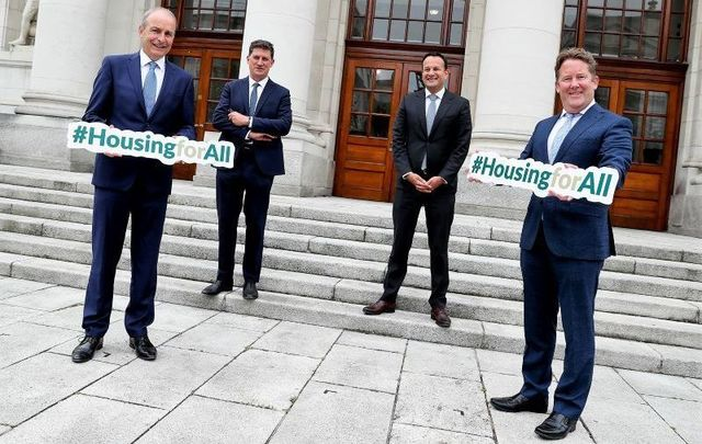 September 2, 2021: Taoiseach, Micheál Martin TD, Tánaiste and Minister for Enterprise, Trade and Employment Leo Varadkar TD, Minister for the Environment, Climate, Communications and Transport, Eamon Ryan TD and Minister for Housing, Local Government and Heritage, Darragh O'Brien TD launch \'Housing for All - a New Housing Plan for Ireland.\'