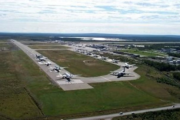 Planes lined up during Operation Yellow Ribbon at CFB Gander