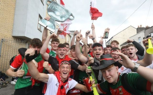 Tyrone and Mayo fans pose for photographs ahead of Saturday\'s All Ireland final.