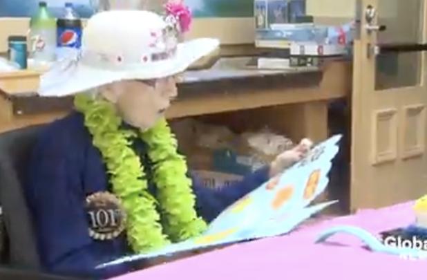 Celebrating her 101st birthday, Kathleen Pickard.