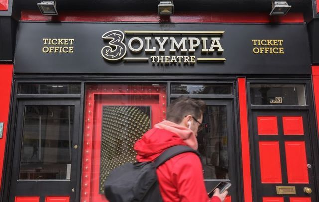September 16, 2021: The new logo for the Olympia Theatre in Dublin, which has controversially changed its name to the 3Olmypia Theatre after a sponsorship deal with mobile operator 3.