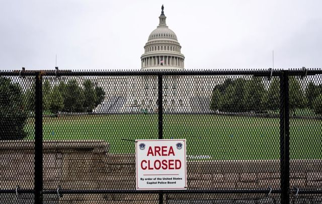 September 17, 2021: The US Capitol stands behind security fencing in Washington, DC. Security in Washington, DC has been increased in preparation for the Justice for J6 Rally, a rally happening this weekend in Washington for support for those who rioted at the US Capitol on January 6 to protest the 2020 presidential election outcome.