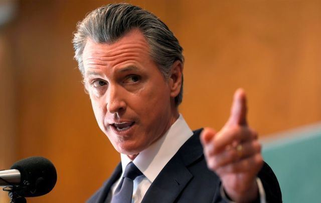 September 14, 2021: California Governor Gavin Newsom speaks to union workers and volunteers on election day at the IBEW Local 6 union hall in San Francisco, California.