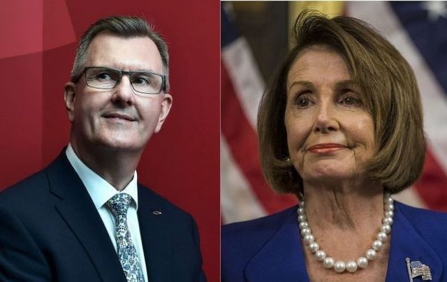 Sir Jeffrey Donaldson, head of the DUP in Northern Ireland, and Nancy Pelosi, US Speaker of the House.
