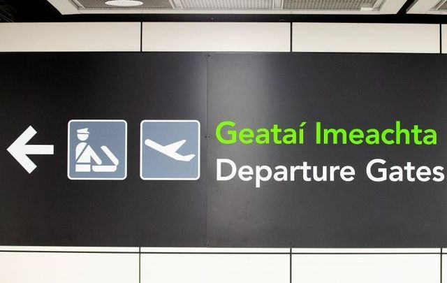 Departure Gates sign at Dublin Airport.