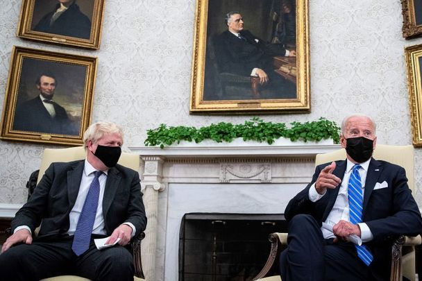 September 21, 2021: UK Prime Minister Boris Johnson and US President Joe Biden in the Oval Office of the White House in Washington, DC. Johnson made a 24-hour visit to Washington to meet with the President, Vice President and congressional leaders, while in the United States to attend the U.N. General Assembly.