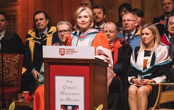 Hillary Clinton accepts an honorary Doctor of Laws degree at Queen\'s in 2018.