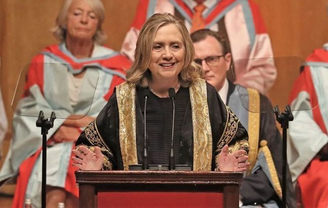 September 24, 2021: Hillary Clinton is installed as the chancellor of Queen\'s University during a ceremony at the Belfast academic institution in Belfast, Northern Ireland.