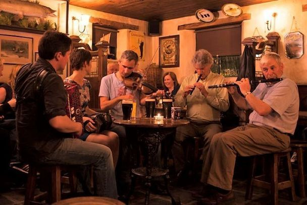 An Irish trad music session in Co Donegal. \n