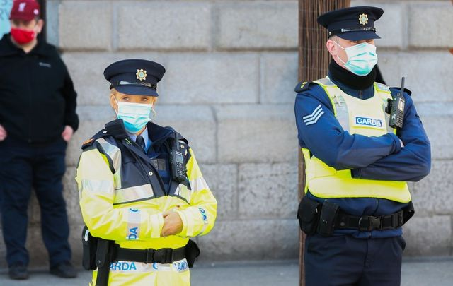 Gardaí (Irish police wearing facemasks during Covid protests, in 2021.