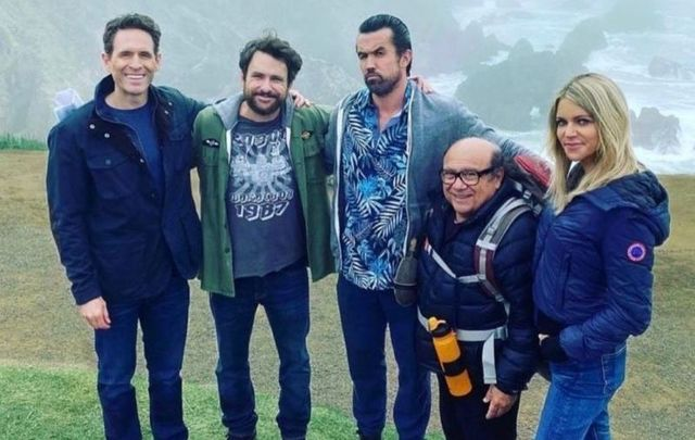 The stars of \'It\'s Always Sunny in Philadelphia\' - Glenn Howerton, Charlie Day, Rob McElhenney, Danny DeVito, and Kaitlin Olson - in what appears to be Ireland.