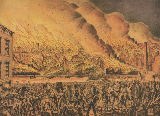 The Great fire at Chicago Oct. 9th 1871. View from the west side / Gibson & Co.\'s Steam Press