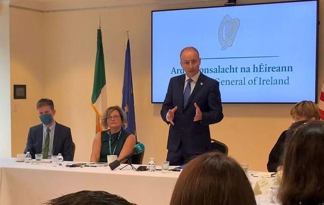 September 23, 2021: Taoiseach Micheál Martin speaking with Irish and Irish American groups at the Irish Consulate in New York City.