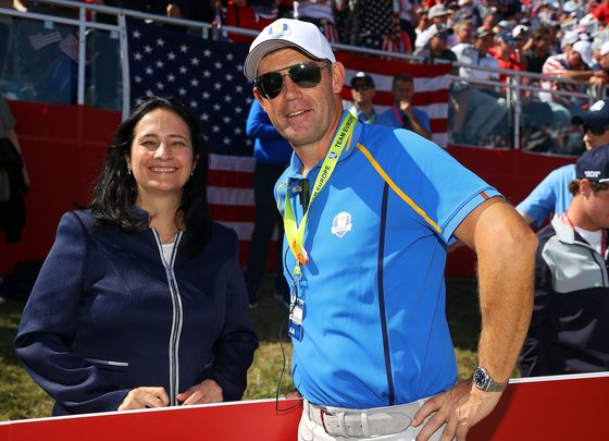 Irish Tourism Minister Catherine Martin and Ryder Cup captain Padraig Harrington in Whistling Straits last Friday.