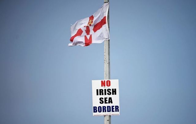 September 7, 2021: Anti-Irish sea border posters at the entrance to Larne harbour, one of the main entry points between Northern Ireland and the rest of the United Kingdom.