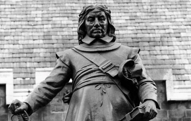A statue outside of British Parliament of Oliver Cromwell, surely one of Ireland\'s most hated figures.