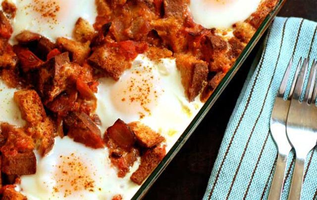 This breakfast bake recipe is perfect for Sunday brunch with a large group!