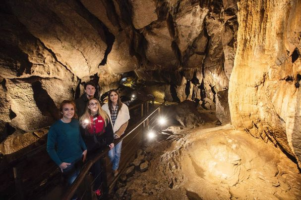 Tourists enjoy the Marble Arch Caves in County Fermanagh.