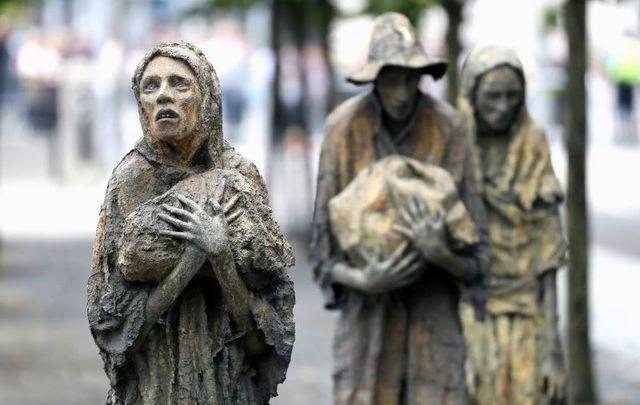 The Famine Memorial in Dublin, Ireland.