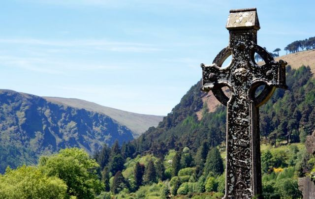 A Celtic High Cross in Co Wicklow. Ireland has a multitude of sites associated with saints.