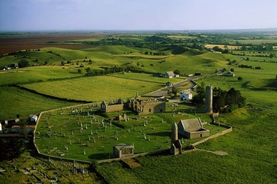 The 6th-century monastery at Clonmacnoise in County Offaly. \n