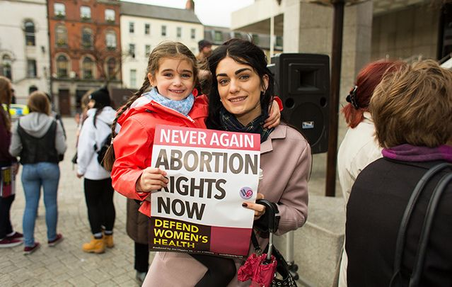 Young mother and daughter at abortion rights protest in Dublin in March 2014.