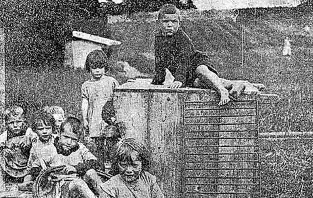 Children photographed in Glenamaddy, in 1924, before The Home moved to Tuam, in County Galway.