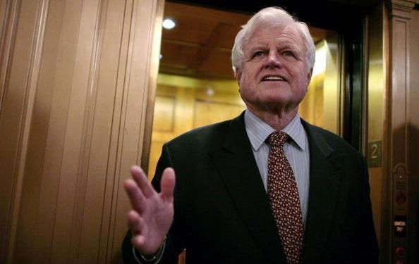 Senator Ted Kennedy (D-MA) talks with the news media after walking off the floor of the US Senate after a roll call vote to achieve cloture on the nomination of Judge Samuel Alito to the US Supreme Court passed 72 to 25 January 30, 2006, in Washington, DC.