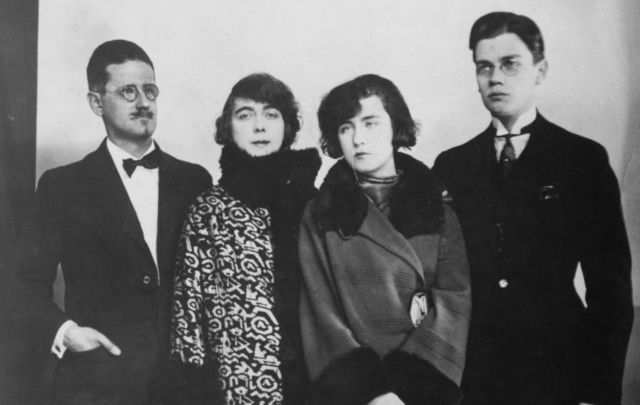 Paris, 1924: James Joyce, his partner and future wife, Nora Barnacle (1884 - 1951), and their children Lucia (1907 - 1982) and Giorgio (1905 - 1976).
