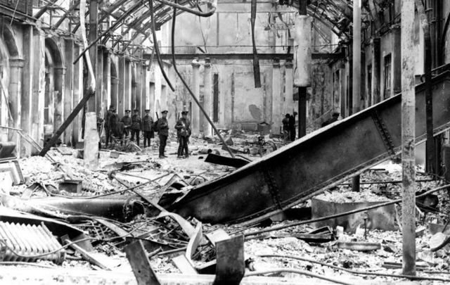 Rubble of the General Post Office on Sackville Street in Dublin after the 1916 Easter Rising.