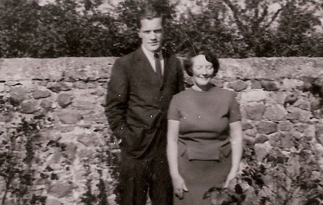 Michael Scanlon (age 22) with his Aunt Ita in her garden in Balbriggan.