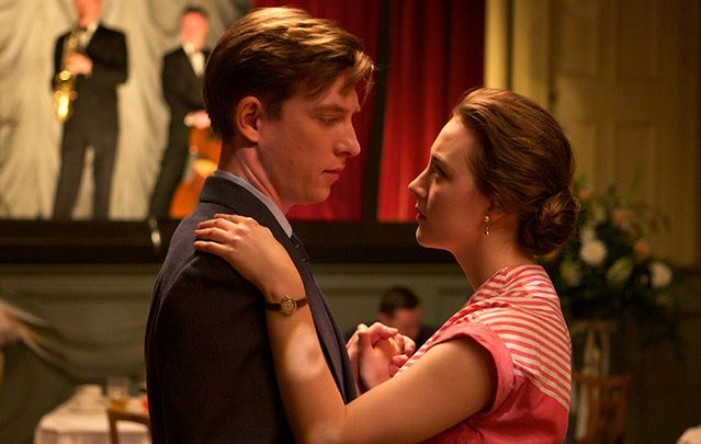 "Domhnall Gleeson as ""Jim\"" and Saoirse Ronan as \""Eilis\"" in the Oscar nominated moive, Brooklyn."