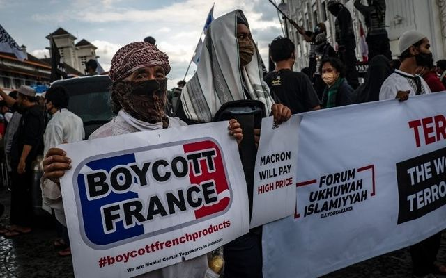 Indonesian Muslims protesting against French President Emmanuel Macron use a term that originated in Ireland.