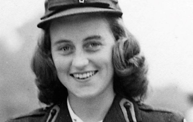 Lady Hartington (formerly Kathleen Kennedy) in London, wearing an American Red Cross uniform, circa 1943.