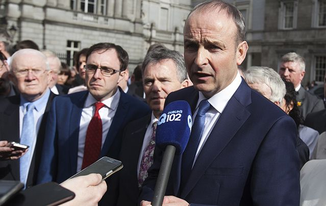 Fianna Fail leader Michael Martin speaks to the press last Thursday outside Leinster House.
