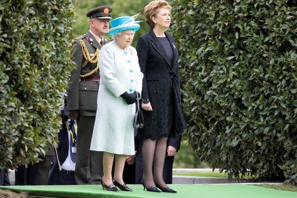 Queen Elizabeth II photographed at the Garden of Remembrance with the former Irish president Mary McAleese.
